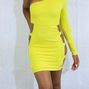 Yellow mini sexy dress